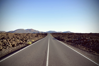 Spain, View of straight and endless road