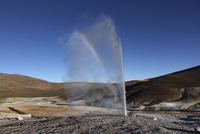 Chile, View of Puchuldiza Geyser field