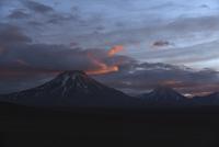 Chile, View of Lascar Volcano range