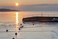 Germany, Sunrise over Lake Constance