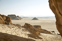 Egypt, Mid adult woman sitting alone in desert