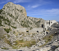 Turkey, View of antique theater at archaeological site of Termessos