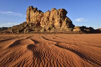 Algeria, Sahara,  Tassili N'Ajjer National Park, Tassili Tadrart, rocks and dunes at the cirque