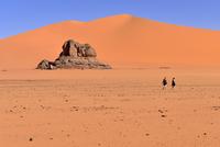 Algeria, Sahara, Tassili N'Ajjer National Park, Tadrart, people hiking in the sand dunes of Tin Merzouga