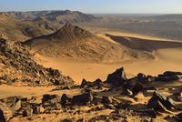 Algeria, Sahara, Tassili N'Ajjer National Park, Western escarpment of Tadrart plateau