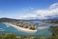 New Zealand, Coromandel Peninsula, View of Pauanui village and beach