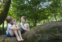 Germany, Bavaria, two girls sitting on a tree