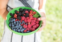Germany, Bavaria, Girl holding bowl of berries