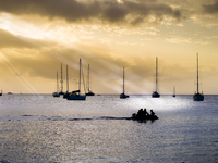 Caribbean, Antilles, Lesser Antilles, Saint Lucia, sailing yachts at sunset