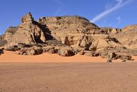 Algeria, Sahara, Tassili N'Ajjer National Park, two pickup vehicles in Oued In Djeran