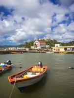 Caribbean, Lesser Antilles, Saint Lucia, Dennery, fishing village, fishing boats