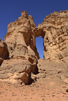 Algeria, Tassili n' Ajjer, Sahara, Tadrart, Tamezguida, natural window (La Cathedrale)