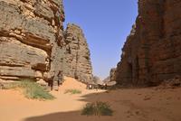 Africa, Algeria, Sahara, Tassili N'Ajjer National Park, Tadrart, Group of people hiking in Immourouden