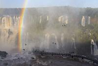 South America, Brazil, Parana, Iguazu National Park, Iguazu Falls and rainbow