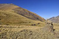 Iran, Mazandaran, Hezar Som plateau, Alam Kuh area, Takht-e Suleyman Massif, Alborz Mountains, group of people hiking 20025331006| 写真素材・ストックフォト・画像・イラスト素材|アマナイメージズ