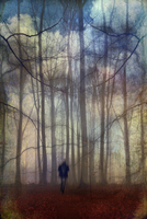 Man walking through fantastic forest landscape