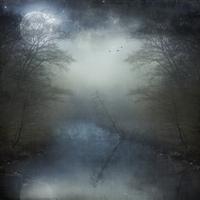 Full moon over foggy river