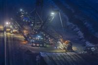 Germany, Juechen, bucket-wheel excavator at brown coal mining Garzweiler by night