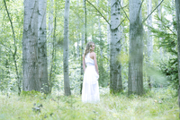 Young woman wearing white dress in the forest 20025331728| 写真素材・ストックフォト・画像・イラスト素材|アマナイメージズ