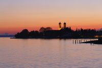 Germany, Friedrichshafen, Lake Constance, View to Castle church, afterglow