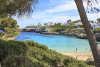 Spain, Mallorca, View to Cala Esmeralda, bay at Cala D'or