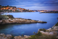 Spain, Balearic Islands, Mallorca, Cala Comtesa at Illetes in the evening