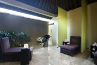 Green and purple spa treatment room