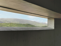 Window in concrete wall with view