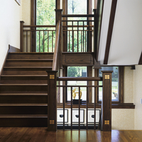 STAIRWAYS: Long  two story windows along stair landing, looking from one landing to another of a three story home, Arts And Craf