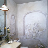 BATHROOMS: Powder room. Faux paint scene on walls, Trompe l'oeil.
