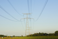 Power line passing over a field, Loire Valley, France