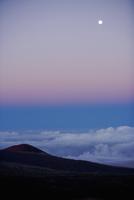 Moon at dusk, Mauna Kea, Hilo, Hawaii, USA