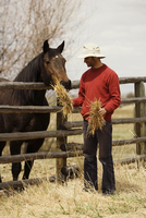 Mid adult man feeding a horse and smiling