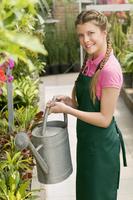 Woman watering plants in a greenhouse 20025341664| 写真素材・ストックフォト・画像・イラスト素材|アマナイメージズ