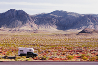 High angle view of a motor home passing through an arid landscape,Las Vegas,Nevada,USA