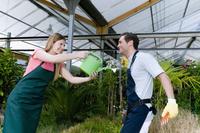 Couple playing in a greenhouse 20025341939| 写真素材・ストックフォト・画像・イラスト素材|アマナイメージズ