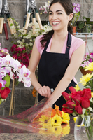 Woman working in a flower shop
