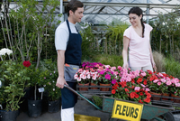 Customer buying potted plants