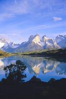 Cuernos del Paine, 2600m, from Lago Pehoe, Torres de Paine National Park, Patagonia, Chile, South America