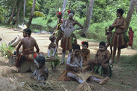 Women and children with body decoration, Sepik River, Papua New Guinea, Pacific