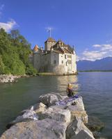 Chateau Chillon, Lake Geneva (Lac Leman), Switzerland, Europe