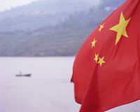 Detail of the Chinese flag flying, Yangtze (Yangtse) (Yangzi) River, China, Asia