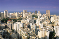 Elevated view over the fashionable central Hamra district in the reconstructed city, Beirut, Lebanon, Middle East
