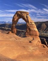 Rock formation caused by erosion known as Delicate Arch, 45 ft high and 33 ft wide, in the Arches National Park in Utah, United