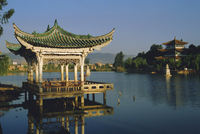 Pavilion and lake in a park, Kunming, Yunnan Province, China