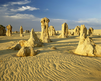 Rock formations in the Pinnacle Desert in Nambung National Park near Perth, Western Australia