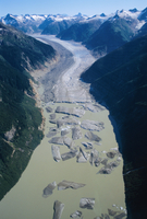 Glacier flowing from the Juneau Icefield to the proglacial lake, Alaska, United States of America