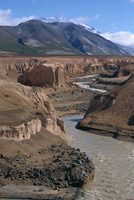 Ignimbrite exposed in river canyons cut since 1912 eruption, in the Valley of Ten Thousand Smokes, in Katmai Volcano National Pa