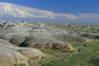 Gullies eroded into the Pierre shales, Badlands National Park, South Dakota, United States of America