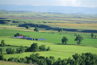 The great grasslands valley of the Little Bighorn River, near Billings, Montana, United States of America